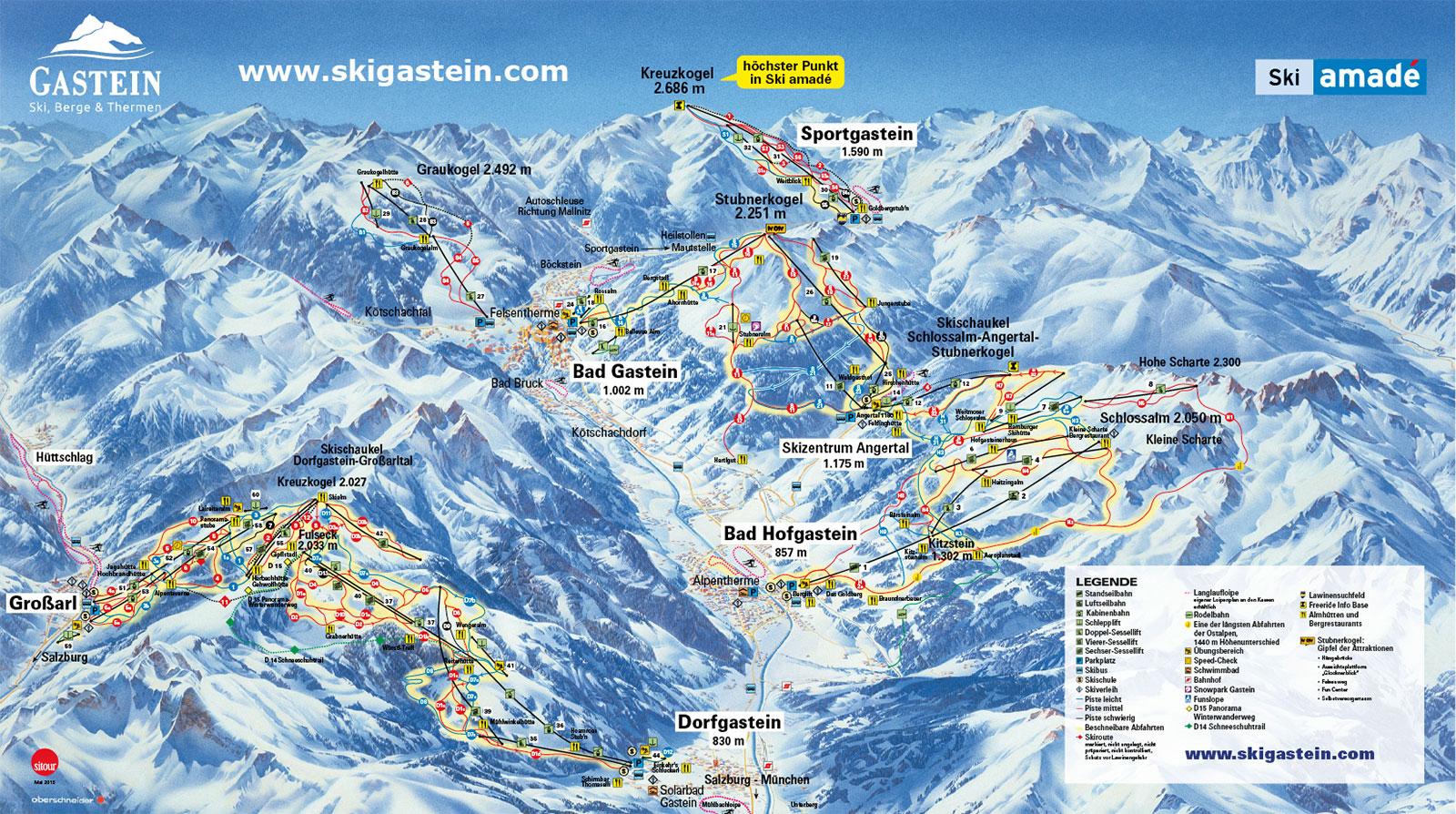 Karte der Skigebiete des Gasteinertals