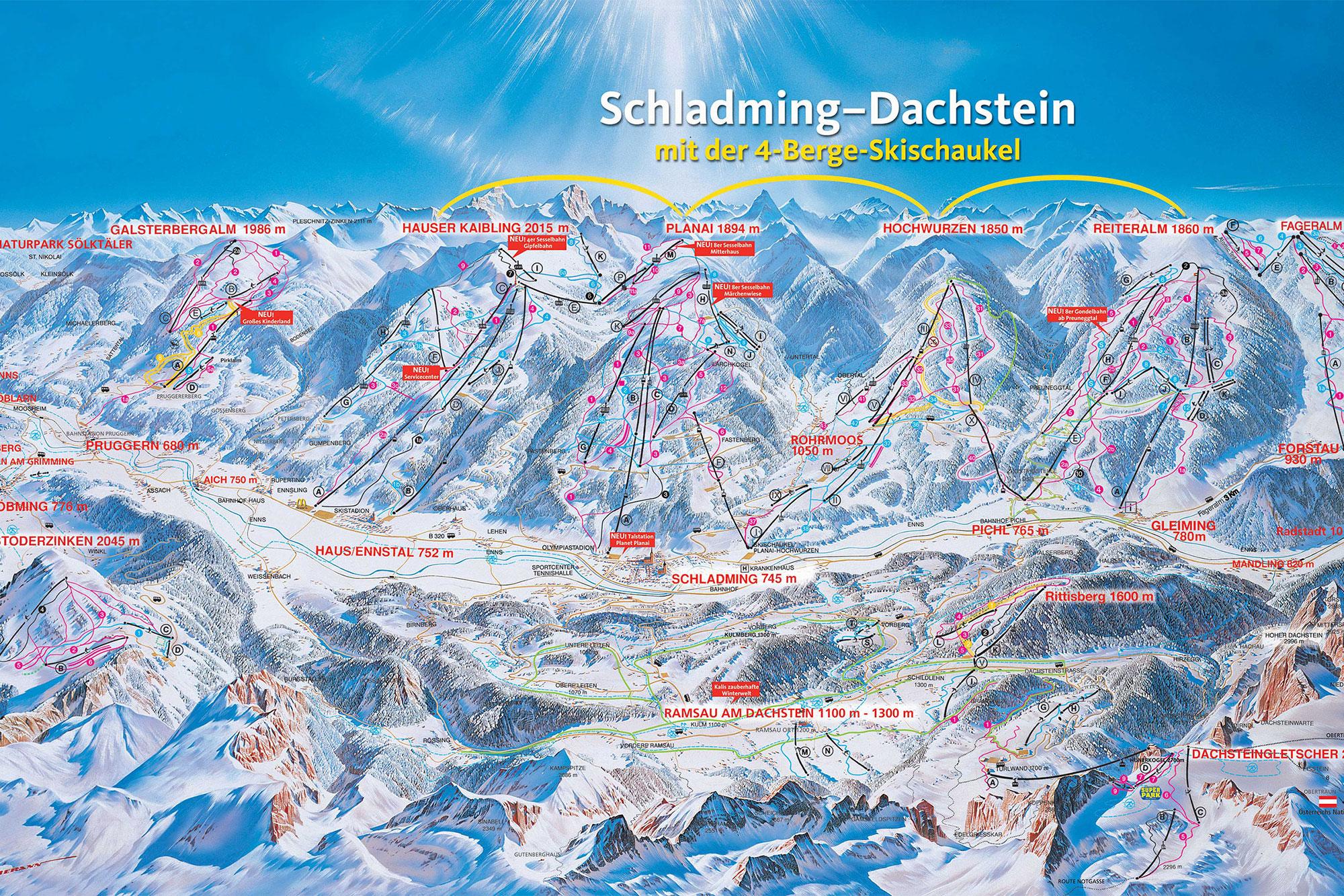Karte der Skigebiete in Schladming Dachstein