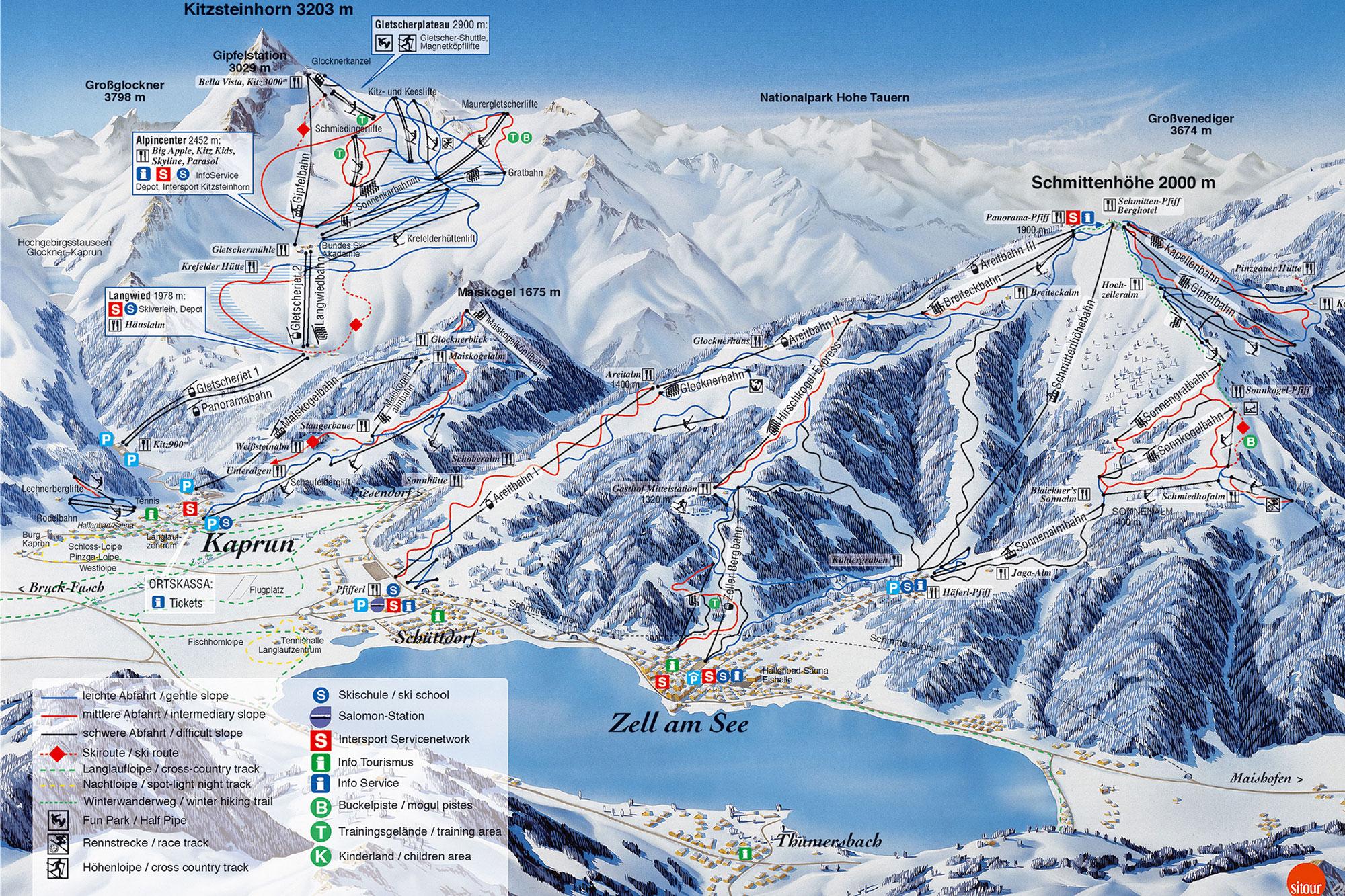 Winterkarte der Skigebiete